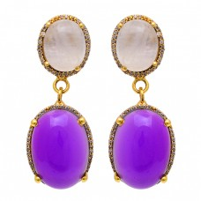 Rose Quartz Amethyst Gemstone 925 Sterling Silver Gold Plated Stud Earrings