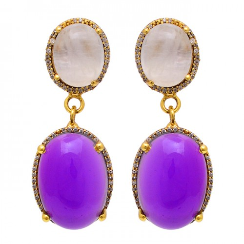 Rose Quartz Amethyst Gemstone 925 Sterling Silver Gold Plated Stud Earrings