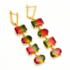 Rectangle Oval Shape Tourmaline Doublet Quartz Gemstone Gold Plated Earrings