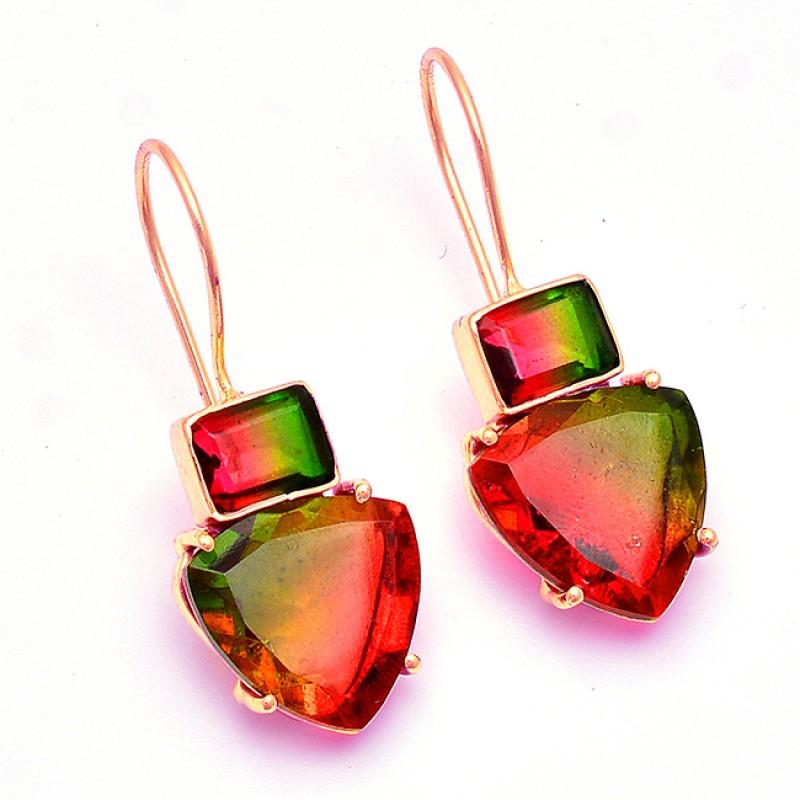 Triangle Rectangle Shape Tourmaline Doublet Quartz Gemstone Earrings