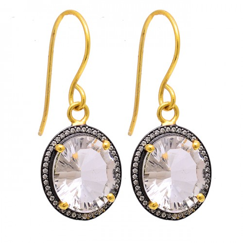 Crystal Quartz Cubic Zirconia Gemstone 925 Sterling Silver Gold Plated Earrings