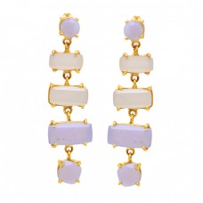 Sunstone Moonstone 925 Sterling Silver Gold Plated Dangle Stud Earrings