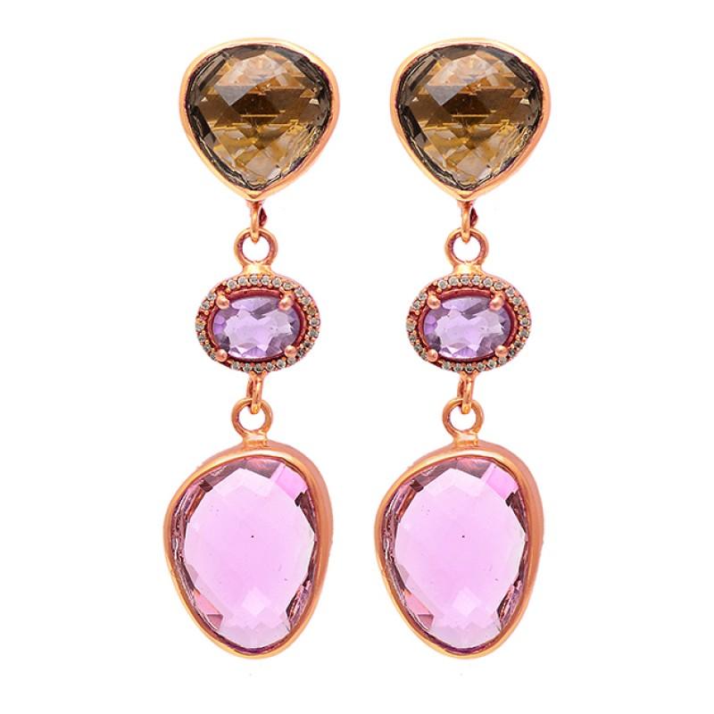 Heart Oval Shape Gemstone 925 Sterling Silver Gold Plated Stud Earrings