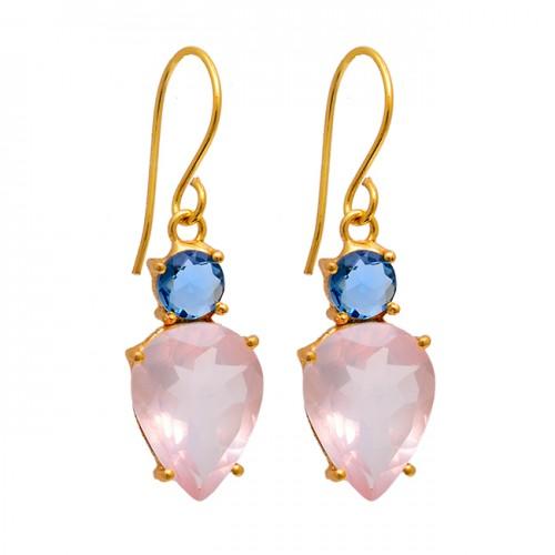 Blue Topaz Rose Quartz Gemstone 925 Sterling Silver Gold Plated Earrings