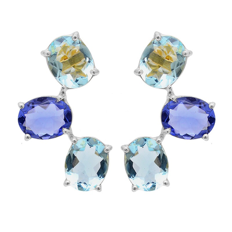 Blue Color Quartz Topaz Gemstone 925 Sterling Silver Gold Plated Stud Earrings