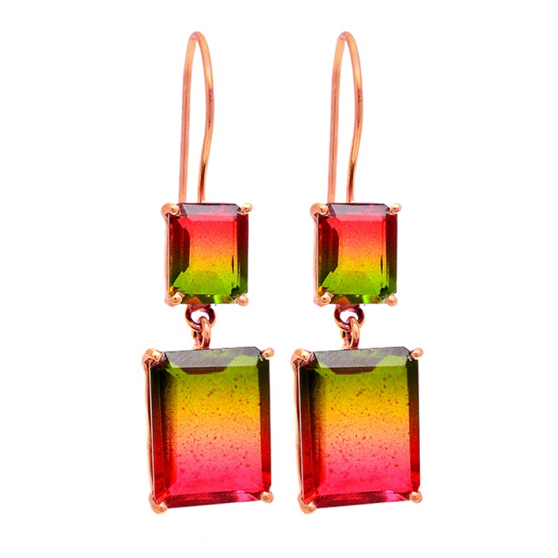 Rectangle Shape Tourmaline Doublet Quartz Gemstone Gold Plated Earrings