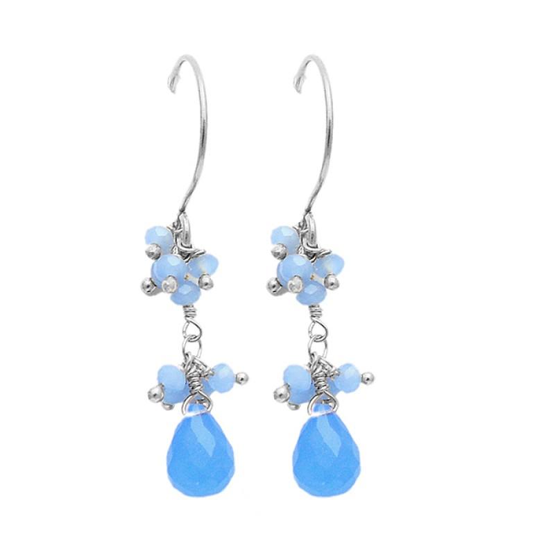Handmade Chalcedony Pear Drops Roundel Gemstone Dangle Gold Plated Earrings