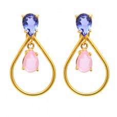 Rose Quartz Tanzanite Gemstone 925 Sterling Silver Gold Plated Stud Earrings