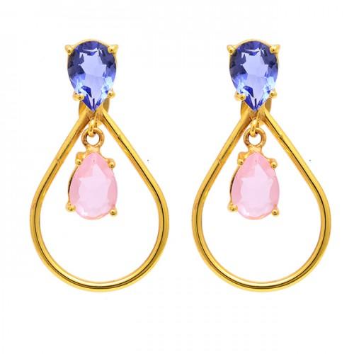 Rose Quartz Tanzanite Gemstone 925 Sterling Silver Gold Plated Stud Earrings
