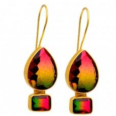 925 Sterling Silver Tourmaline Doublet Quartz Gemstone Gold Plated Earrings