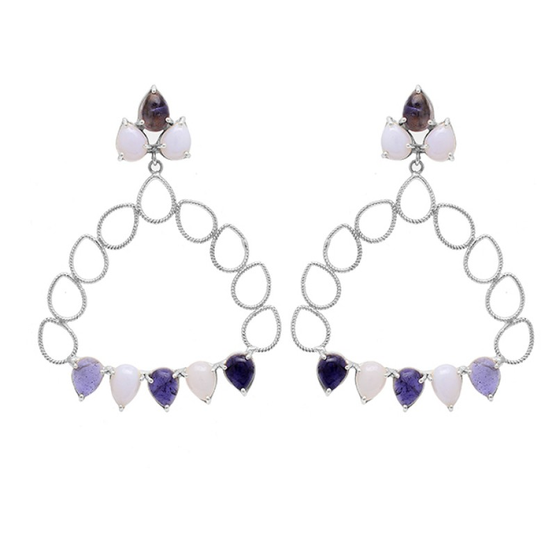 Blue Quartz Moonstone 925 Sterling Silver Gold Plated Stud Dangle Earrings