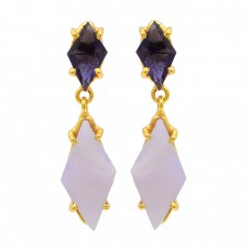 Blue Quartz Moonstone 925 Sterling Silver Gold Plated Dangle Earrings