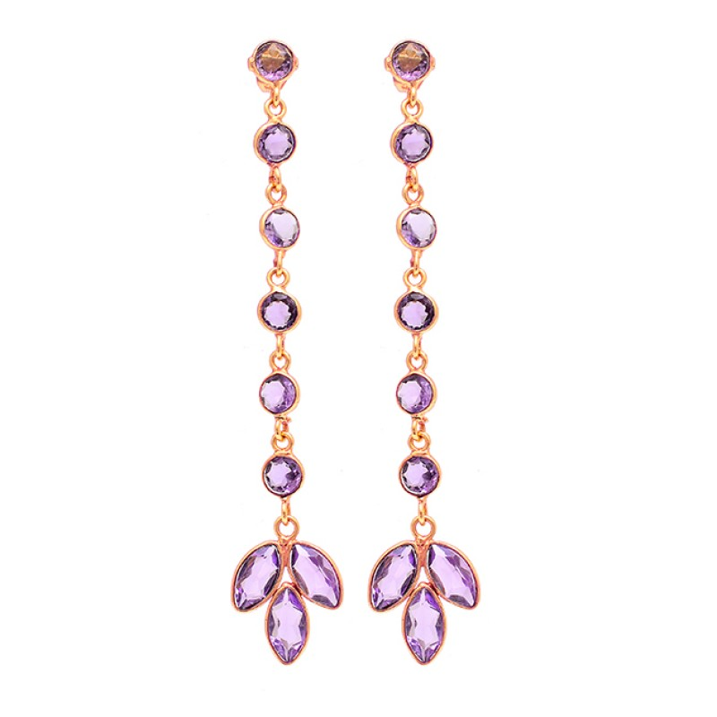 Round Marquise Shape Amethyst Gemstone 925 Silver Gold Plated Earrings
