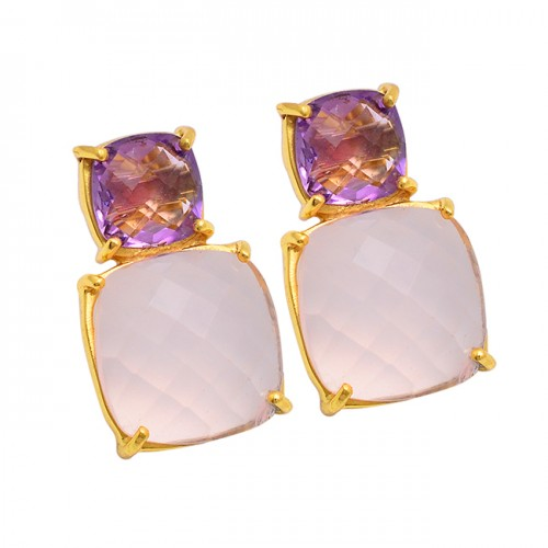 Amethyst Rose Chalcedony Gemstone 925 Sterling Silver Gold Plated Stud Earrings