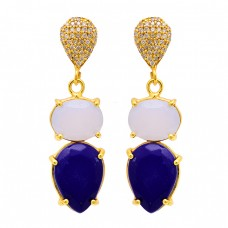 Lapis Lazuli Moonstone 925 Sterling Silver Gold Plated Stud Dangle Earrings