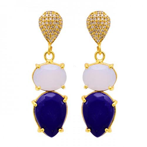 Lapis Lazuli Moonstone 925 Sterling Silver Gold Plated Stud Dangle Earrings
