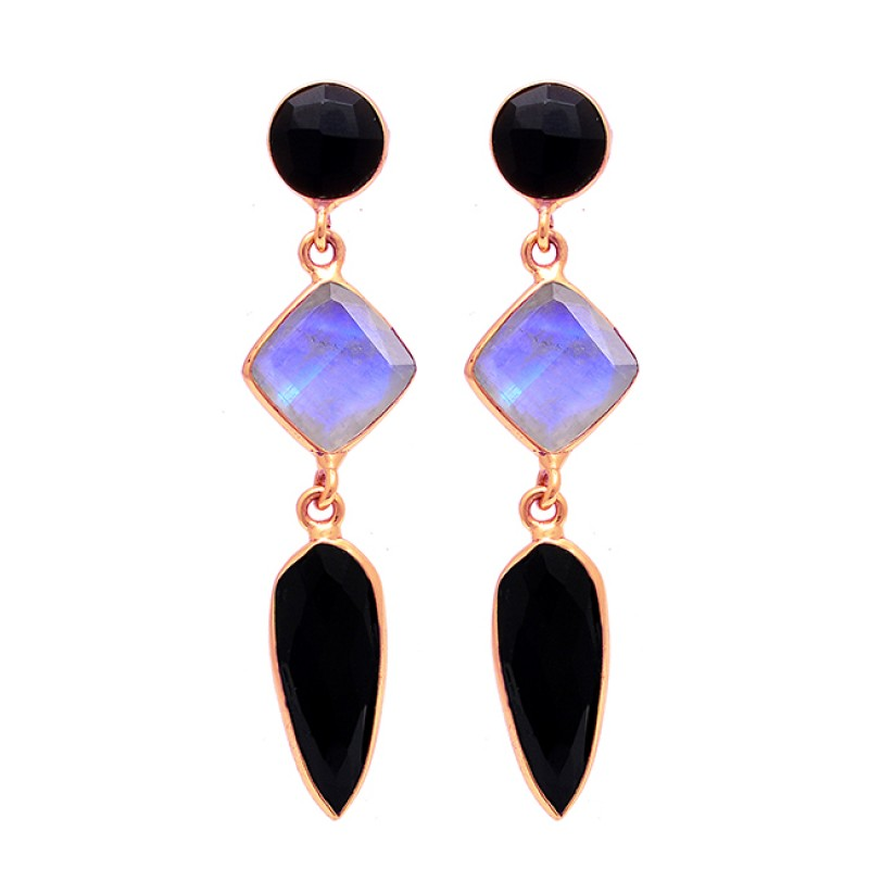 Black Onyx Moonstone 925 Sterling Silver Gold Plated Stud Dangle Earrings