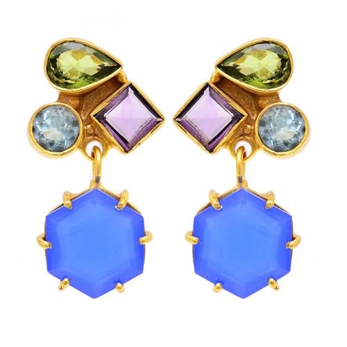 Peridot Amethyst Chalcedony Topaz Gemstone 925 Silver Gold Plated Earrings