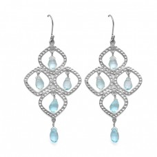 Blue Topaz Pear Drops Gemstone Dangle 925 Sterling Silver Gold Plated Earrings Jewelry