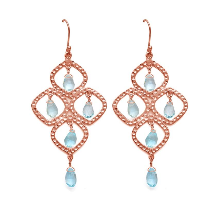 Blue Topaz Pear Drops Gemstone Dangle 925 Sterling Silver Gold Plated Earrings Jewelry