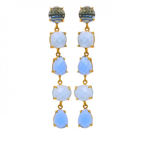 Blue Topaz Moonstone 925 Sterling Silver Gold Plated Stud Dangle Earrings