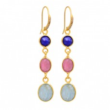 Sapphire Ruby Aquamarine Gemstone Gold Plated 925 Silver Dangle Earrings