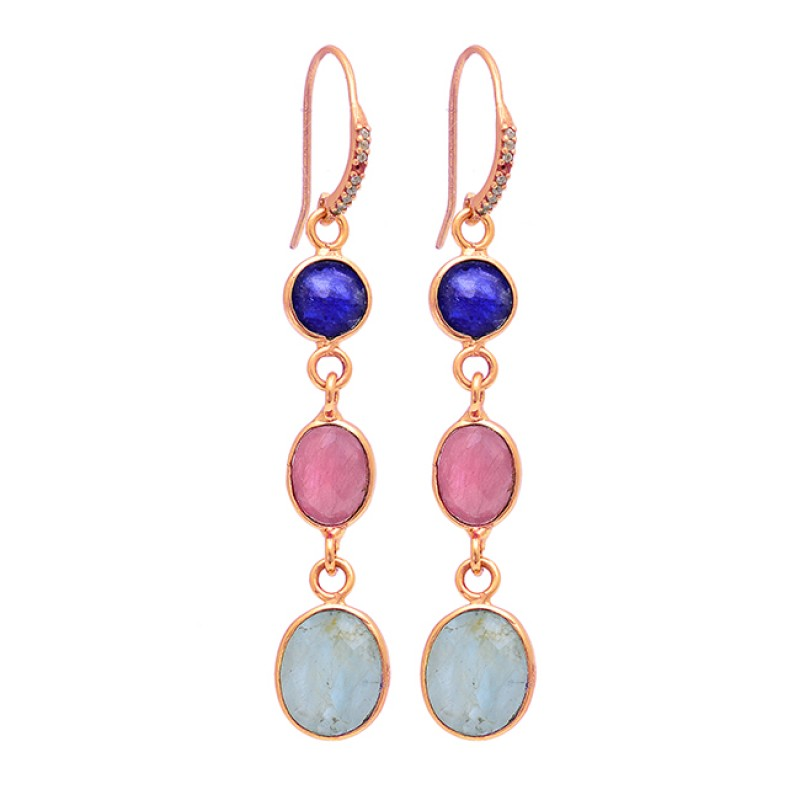 Sapphire Ruby Aquamarine Gemstone Gold Plated 925 Silver Dangle Earrings