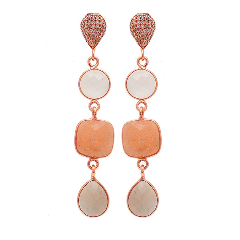 Cushion Pear Round Shape Moonstone 925 Silver Gold Plated Stud Earrings