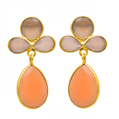 Pear Round Shape Moonstone 925 Sterling Silver Gold Plated Stud Earrings