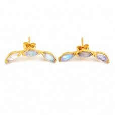 Rainbow Moonstone Marquise Shape Gemstone 925 Silver Gold Plated Earrings