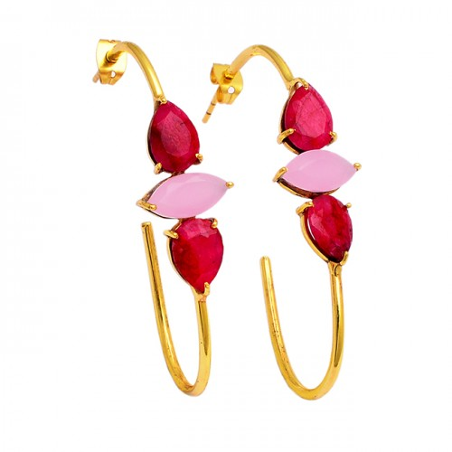 Ruby Rose Chalcedony Gemstone 925 Sterling Silver Gold Plated Hoop Earrings