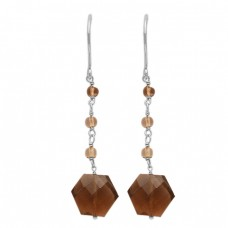 925 Sterling Silver Handmade Gold Plated Smoky Quartz Gemstone Dangle Earrings Jewelry