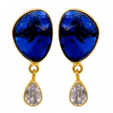 Blue Quartz Crystal Gemstone 925 Sterling Silver Gold Plated Stud Earrings