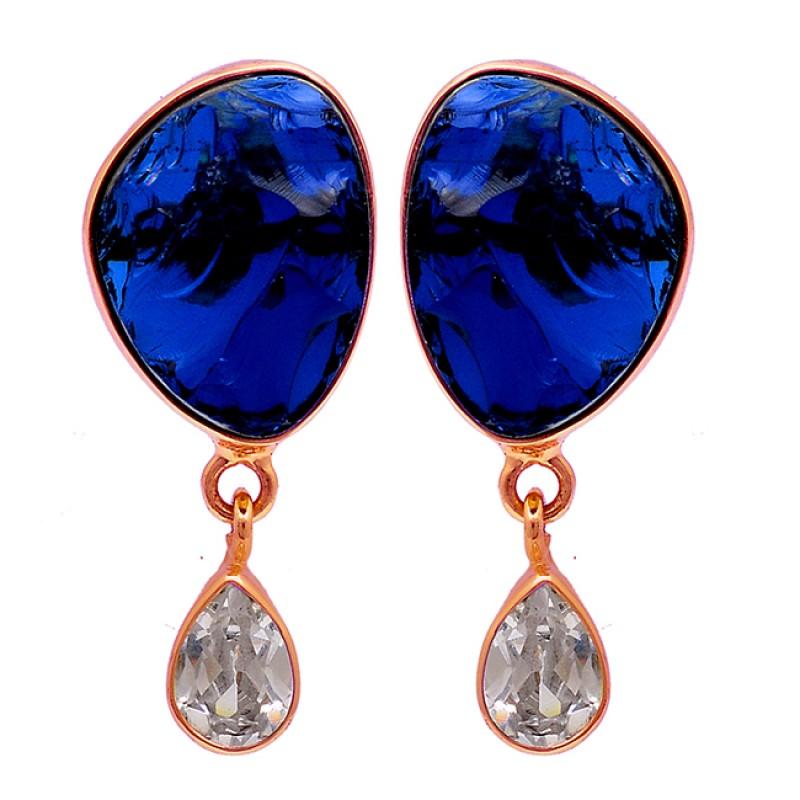 Blue Quartz Crystal Gemstone 925 Sterling Silver Gold Plated Stud Earrings