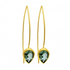 Green Amehtyst Pear Shape Gemstone 925 Silver Gold Plated Hoop Earrings