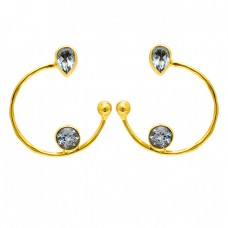 Pear Round Shape Blue Topaz Gemstone 925 Silver Gold Plated Hoop Earrings