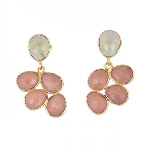 Oval Moonstone 925 Sterling Silver Gold Plated Dangle Handmade Stud Earrings