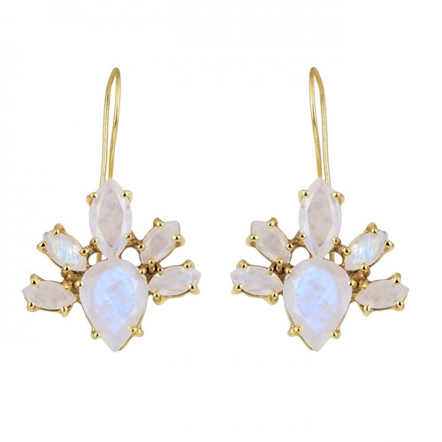 Marquise Pear Shape Moonstone 925 Sterling Silver Gold Plated Earrings