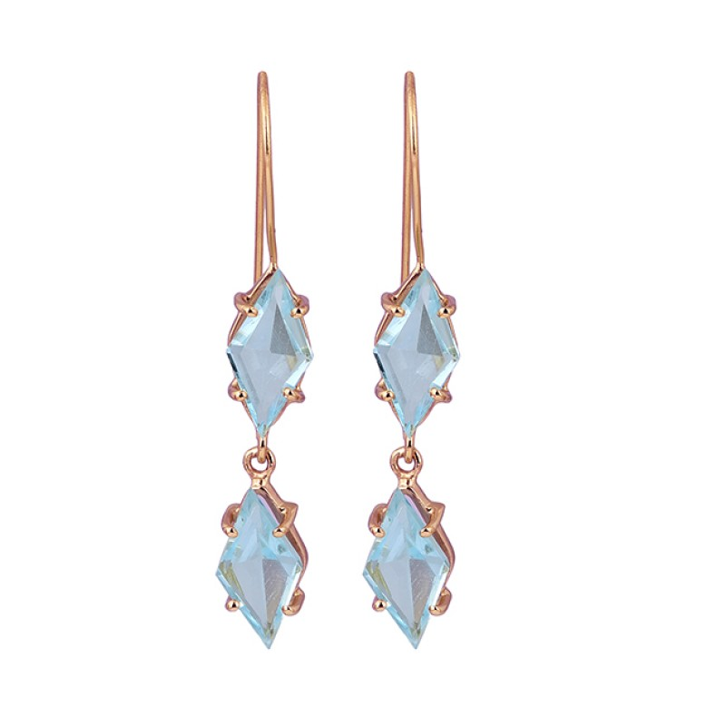 Marquise Blue Topaz Gemstone 925 Sterling Silver Gold Plated Dangle Earrings