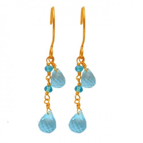 Dangling Pear Drops Roundel Beads Blue Topaz Gemstone Gold Plated Earrings