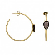 Pear Shape Smoky Quartz Gemstone 925 Sterling Silver Gold Plated Hoop Earrings
