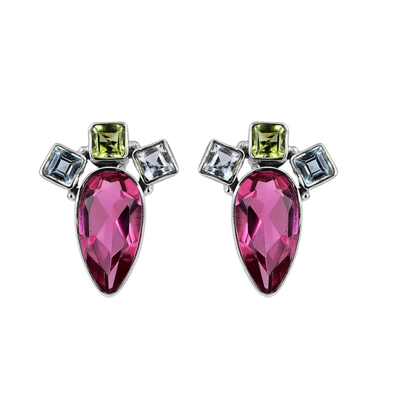 Blue Topaz Peridot Pink Tourmaline Gemstone 925 Silver Gold Plated Earrings