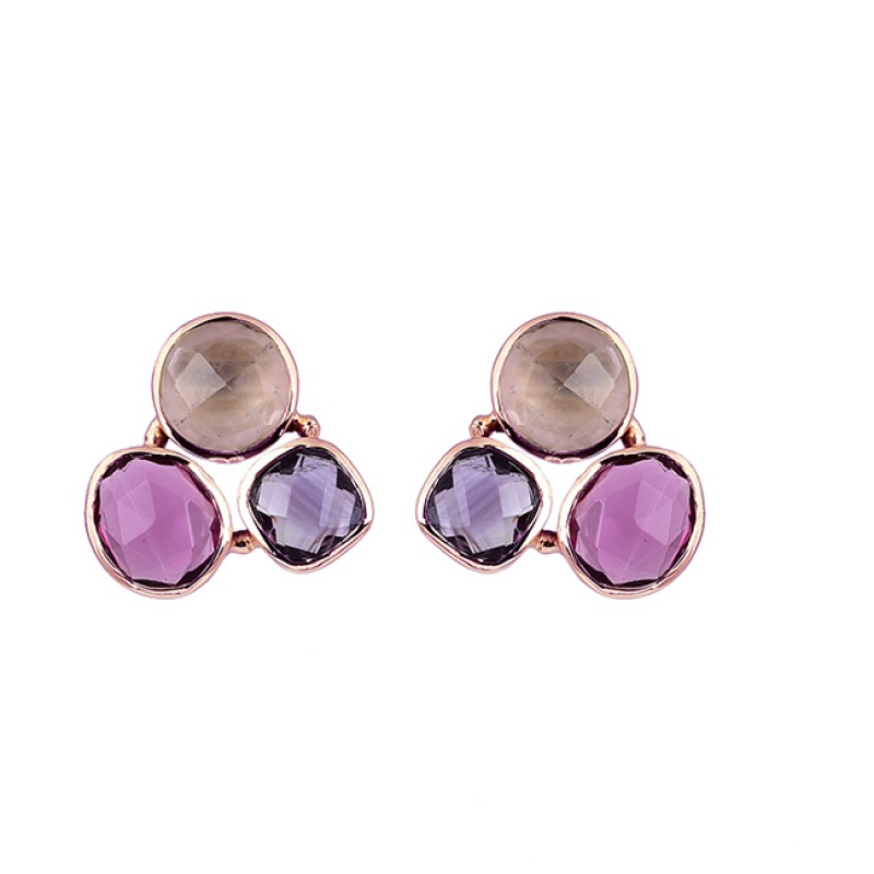 Chalcedony Amethyst Tourmaline Quartz Gemstone Gold Plated Stud Earrings