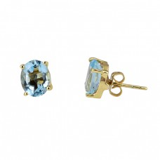 Blue Topaz Oval Shape Gemstone 925 Sterling Silver Gold Plated Stud Earrings