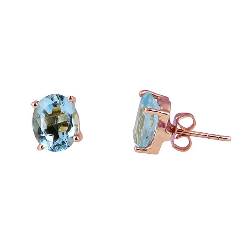 Blue Topaz Oval Shape Gemstone 925 Sterling Silver Gold Plated Stud Earrings