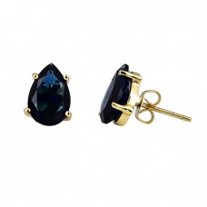 Pear Shape Sapphire Gemstone 925 Sterling Silver Gold Plated Stud Earrings