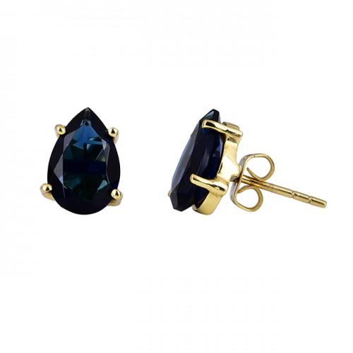 Pear Shape Sapphire Gemstone 925 Sterling Silver Gold Plated Stud Earrings
