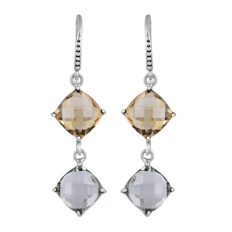 Citrine Smoky Quartz Gemstone 925 Sterling Silver Gold Plated Dangle Earrings