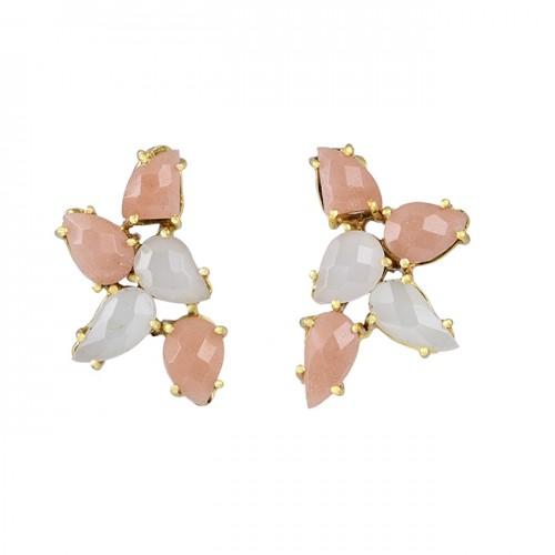 Fancy Shape Moonstone 925 Sterling Silver Gold Plated Stud Earrings