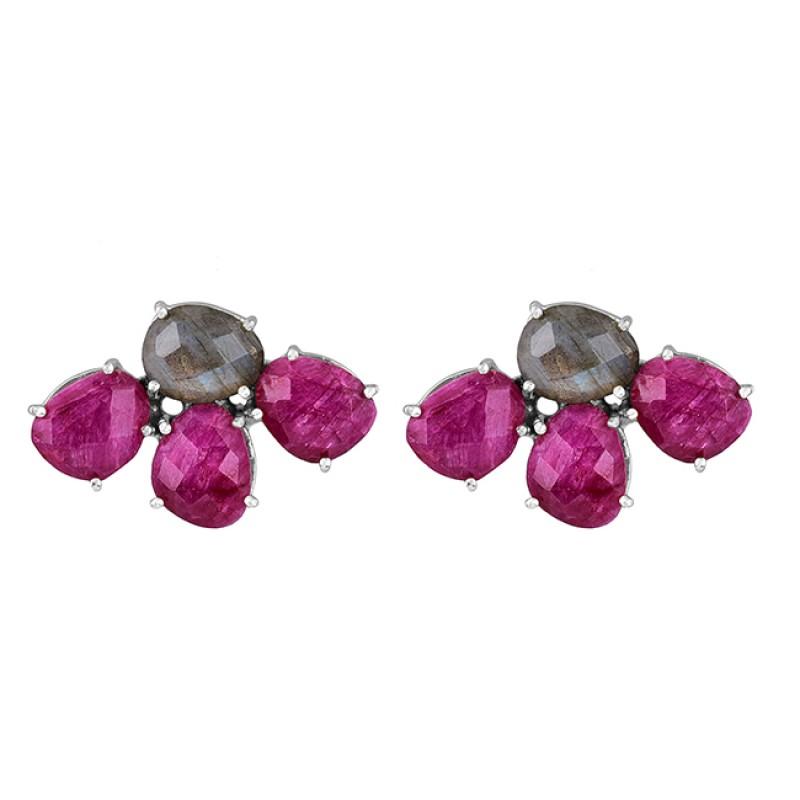 Labradorite Ruby Gemstone 925 Sterling Silver Gold Plated Stud Earrings